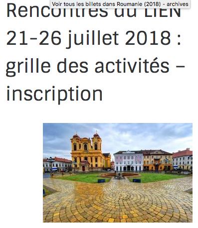 Actualité n°8 : Juillet 2018 Rencontres Internationales d'Education Nouvelle en Roumanie
